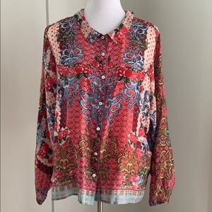 Johnny Was Silk Button Down Blouse Size M